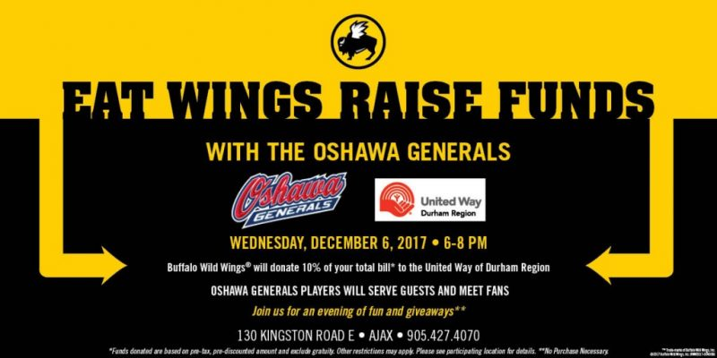 Eat Wings Raise Funds with the Oshawa Generals December 6, 2017