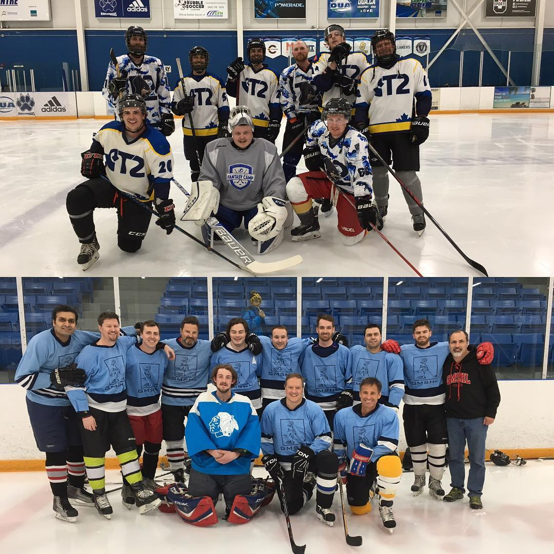 2 hockey teams group picture