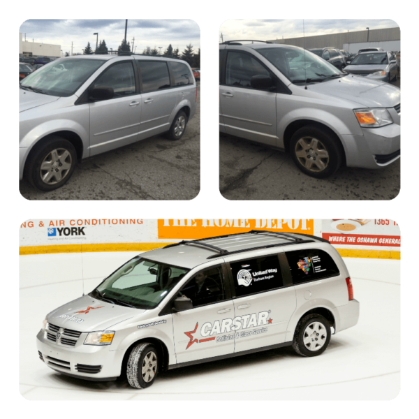Before and After pictures of the Van gifted to the United Way Durham Region from Carstar!