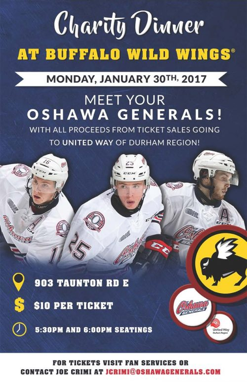2017 Oshawa Generals Charity Dinner Poster