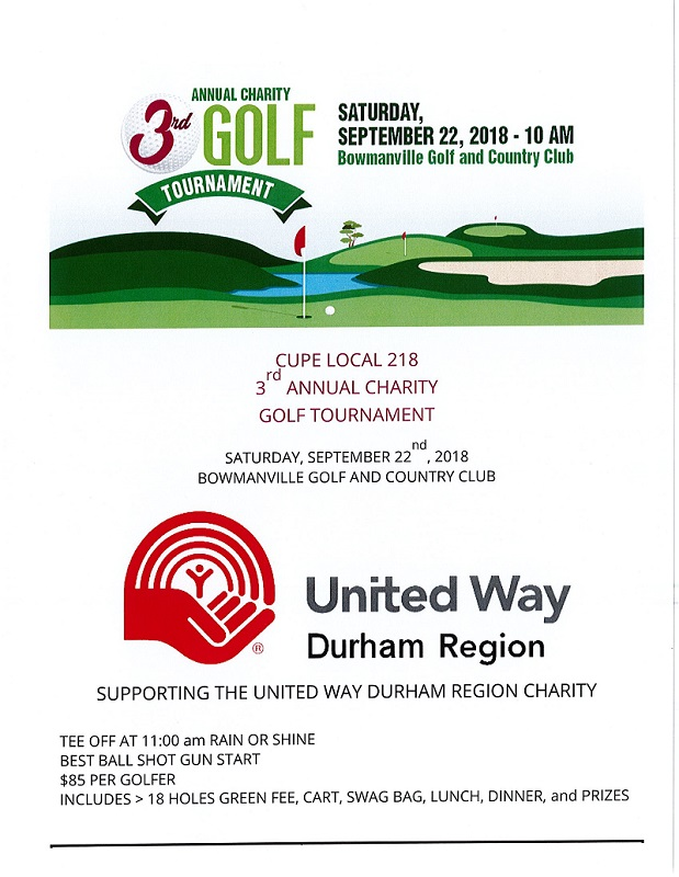 CUPE Local 218 3rd Annual Golf Tournament Saturday September 22, 2018