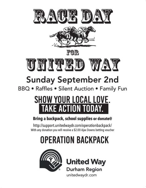 Race Day For United Way Sunday September 2nd at Ajax Downs