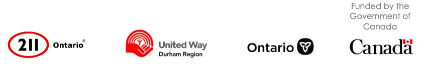 Durham Region Funders Logos: 211 Ontario, United Way Durham Region, Ontario, Government of Canada