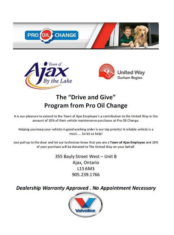the Drive and Give Program from Pro Oil Change